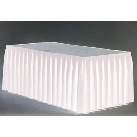 Skirting blanc plissé 8ml H 59 cm