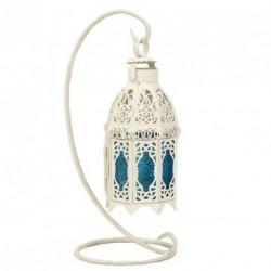 Lanterne blanche vitrail bleu