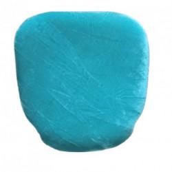 Housse de galette velours turquoise