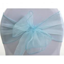 Noeud en organza bleu turquoise