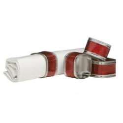 Rond de serviette carré argent et rouge