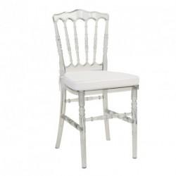 chaise zeus cristal galette blanche sabannes r ception. Black Bedroom Furniture Sets. Home Design Ideas
